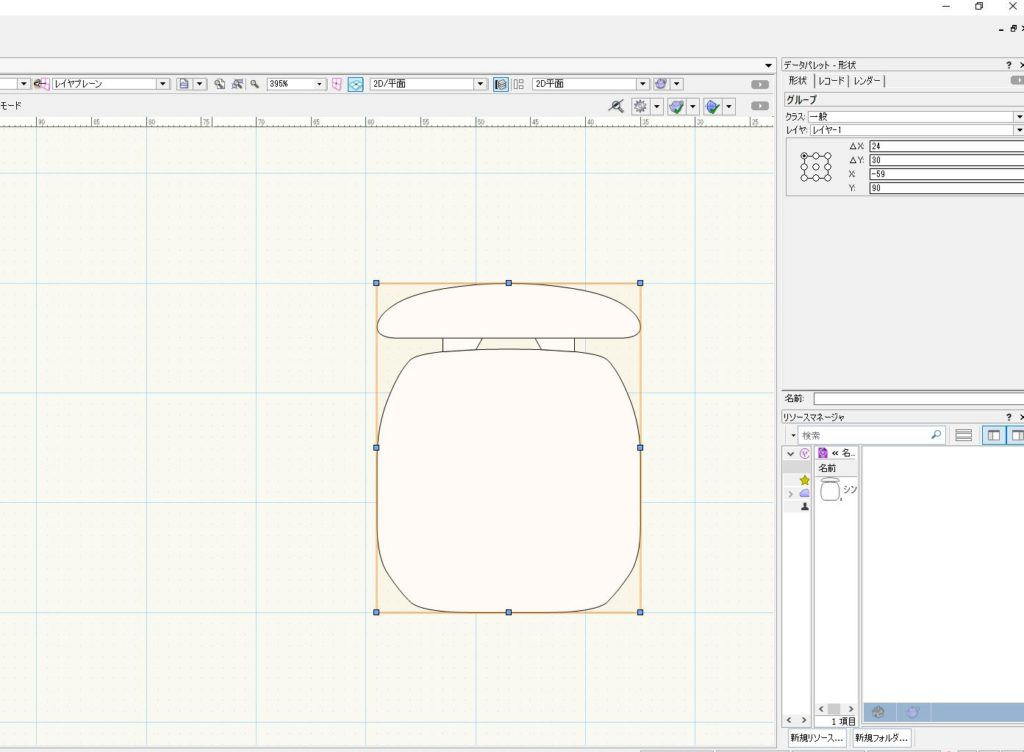 Vectorworksの「グループに変換」でシンボル解除。図形を自由に操作できるようにする方法。
