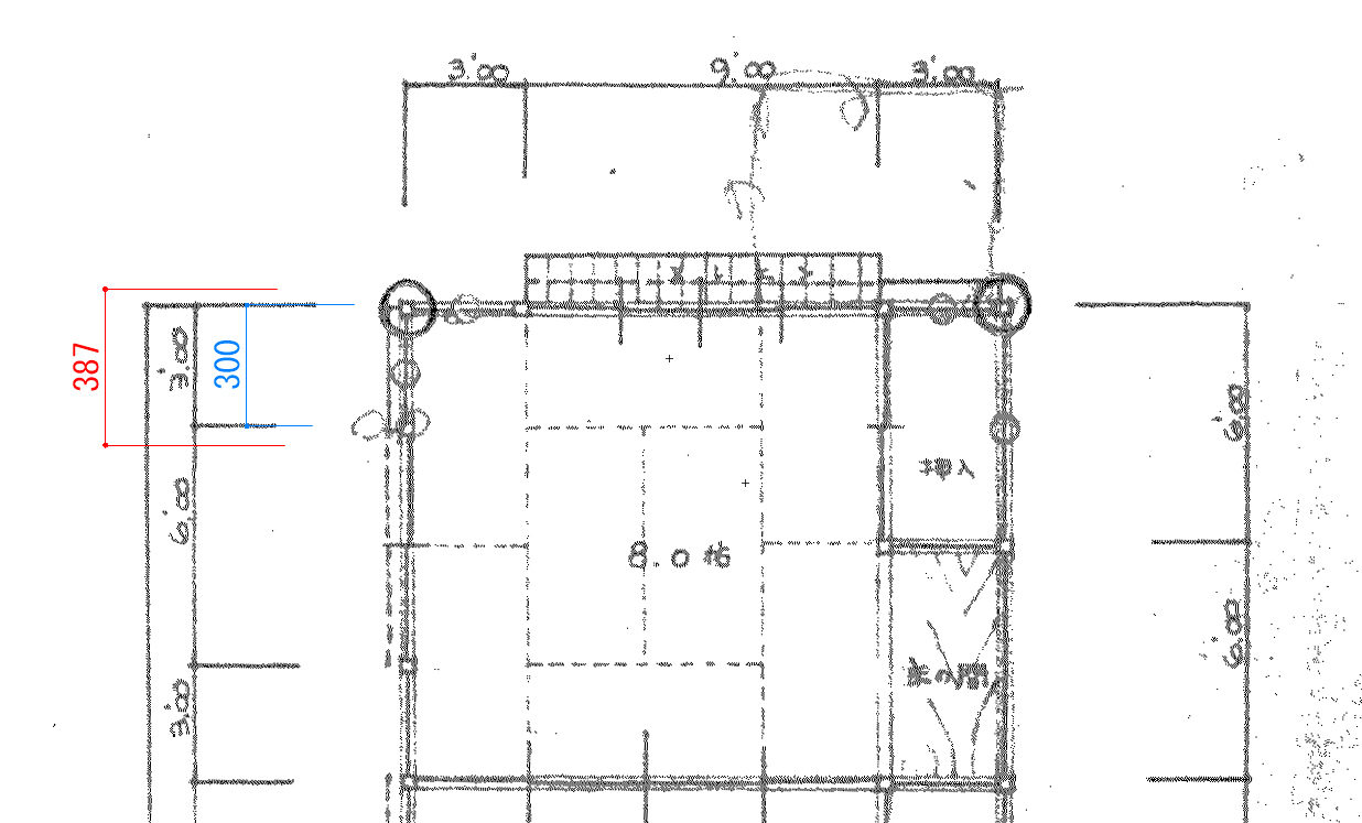 Vectorworksで古い手書き図面を取り込んで、縮尺を合わせる方法。