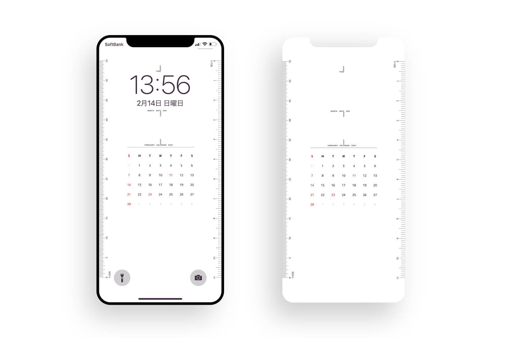 寸法の測れるiPhone用ロック画面壁紙「iPhone Scale Calendar」をつくりました。