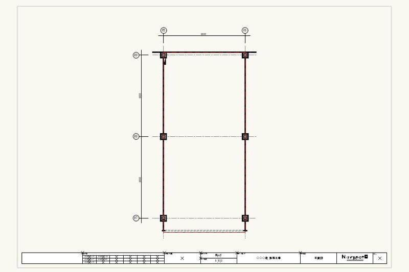 Vectorworksで区画図を取り込み、区画壁下にグレー色の図形を敷く。