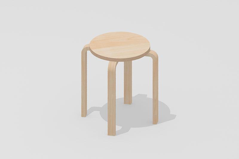Vectorworks 3Dフリー素材「木目スツール」を作りました