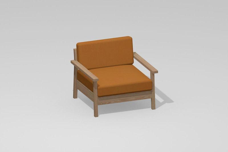 Vectorworks 3Dフリー素材「1人掛けソファ-02」を作りました