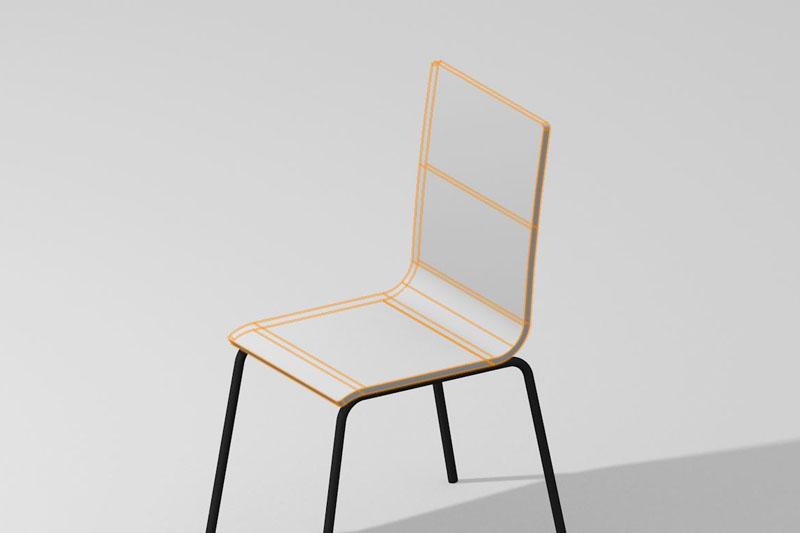 Vectorworks 3D「NURBS曲線」を使って椅子の背と座面を作る方法